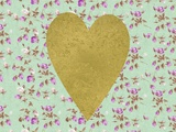 Gold Heart on Mint Floral Print by  Peach & Gold