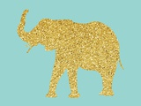 Gold Glitter Elephant Art by  Peach & Gold