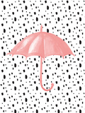 Pink Umbrella on Polka Dots Stampe di  Peach & Gold