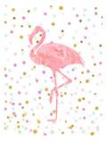 Pink Flamingo on Confetti Plakaty autor Peach & Gold