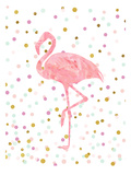 Pink Flamingo on Confetti Stampe di  Peach & Gold