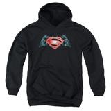 Youth Hoodie: Batman vs. Superman- Industrial Logo Pullover Hoodie