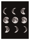 Moon Phases Black Prints by  The Glass Mountain