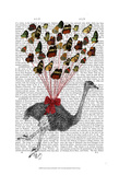 Ostrich Flying with Butterflies Posters by Fab Funky