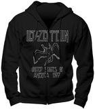 Zipped Hoodie: Led Zeppelin- USA 77 Felpa con cappuccio con chiusura a zip