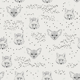 Seamless Pattern with Foliage, Animals, Fox, Kitten, Cat Posters by Tatsiana Tsyhanova