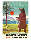 Alaska - Northwest Orient Airlines - Kodiak Alaskan Brown Grizzly Bear Giclee Print by  Pacifica Island Art