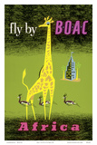 Africa - African Giraffe and Gazelles - Fly by BOAC Plakater af Laban