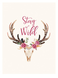 Stay Wild Skull Cream Poster by Amy Brinkman