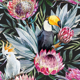 Raster Tropical Protea Pattern Poster by  Zenina
