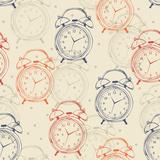 Seamless Pattern with Alarm Clocks in Vintage Style. Prints by Tatsiana Tsyhanova