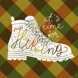 Hiking Lettering. Plaid Background. Vector Illustration Posters by  grytz