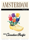 Amsterdam, Holland - Dutch Tulips in a Wooden Clog Prints by  Pacifica Island Art