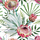 Raster Tropical Protea Pattern Prints by  Zenina