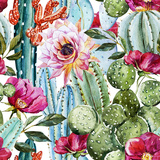 Watercolor Cactus Pattern Premium Giclee Print by  Zenina