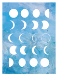Moon Phases Blue Poster by  The Glass Mountain