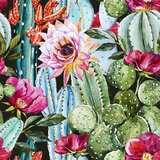 Watercolor Cactus Pattern Poster by  Zenina
