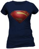 Juniors: Man Of Steel- Textured Logo - T shirt