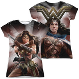 Juniors: Batman vs. Superman- Backlit Wonder Woman (Front/Back) T-Shirt