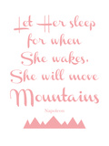 Let Her Sleep Mountains Pink Poster by Amy Brinkman