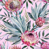 Raster Tropical Protea Pattern Art by  Zenina