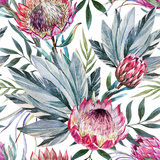 Raster Tropical Protea Pattern Premium Giclee Print by  Zenina