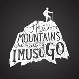 Mountains Calling Label. Hiker Silhouette Lettering Chalk on Board. Vector Illustration Kunst af grytz