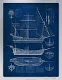 Ship Blueprint I Premium Giclee Print by Vision Studio