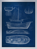 Ship Blueprint II Premium Giclee Print by Vision Studio