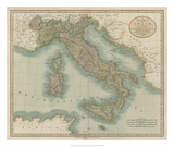Vintage Map of Italy Giclee Print by John Cary