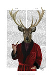 Deer in Smoking Jacket Poster by Fab Funky