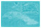 Map of Cuba in Aqua Giclee Print by Vision Studio