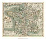 Vintage Map of France Giclee Print by John Cary