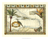 Tropical Map of West Indies Giclee Print by Vision Studio