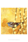 Wren on Yellow I Posters by Evelia Designs