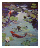 Red Koi & Lilies Giclee Print by Chuck Larivey