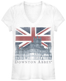 Juniors: Downton Abbey- Union Jack Castle V-Neck Camisetas