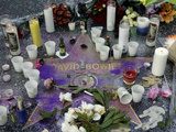 Memorial at David Bowie's star on the Hollywood Walk of Fame after Artist's Death on Jan 10, 2016 Photographic Print by Nick Ut
