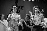 David Bowie and Bob Geldof at the End of the Live Aid Concert, Wembley Stadium, London, 1985 Photographic Print by Joe Schaber