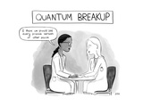 Quantum Breakup -- two female scientists hold hands over a table.  - New Yorker Cartoon Premium Giclee Print by Jason Adam Katzenstein