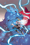 Thor No. 2 Cover, Featuring: Thor (Female), Frost Giants Cartel de plástico por Russell Dauterman