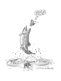 A butterfly thinks 'dream on fishlips' as a trout makes a jump for butterf - New Yorker Cartoon Premium Giclee Print by Michael Crawford