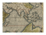 Antique World Map Grid VI Giclee Print by Vision Studio