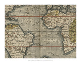 Antique World Map Grid V Giclee Print by Vision Studio