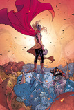 Thor No. 5 Cover, Featuring: Thor (Female), Frost Giants Cartel de plástico por Russell Dauterman