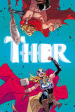 Thor No. 4 Cover, Featuring: Thor (female), Thor Cartel de plástico por Russell Dauterman