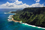 Aerial View of Kauai Coast Photographic Print by Sarah Fields
