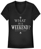 Juniors: Downton Abbey- What Weekend V-Neck - T-shirts