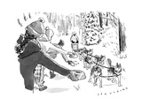 Winter suited volunteers hold out dog dishes of water as a dog sled approa - New Yorker Cartoon Premium Giclee Print by Trevor Spaulding
