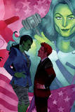 She-Hulk No. 10 Cover, Featuring: She-Hulk, Jennifer Walters, Matt Murdock Plastic Sign by Kevin Wada